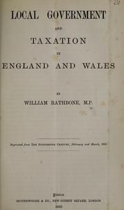 Cover of: Local government and taxation in England and Wales