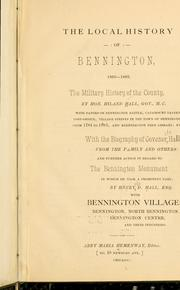 Cover of: The local history of Bennington, 1860-1883