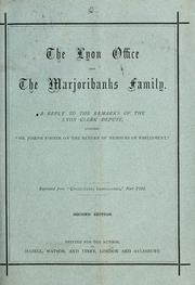 Cover of: The Lyon Office and the Marjoribanks family