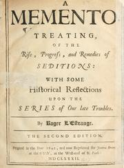 Cover of: A memento treating of the rise, progress and remedies of seditions