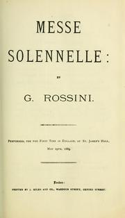 Cover of: Petite Messe solennelle