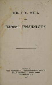 Cover of: Mr. J.S. Mill upon personal representation