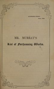 Cover of: Mr. Murray's list of forthcoming works