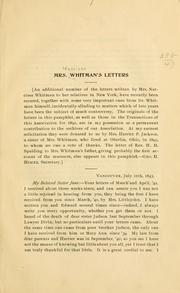 Cover of: Mrs. Whitman's letters 1843-1847