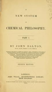 Cover of: A new system of chemical philosophy