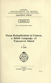 Cover of: Noun reduplication in Comox, a Salish language of Vancouver island