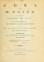"Cover of: Odes to Mr. Paine, author of ""Rights of man;"" on the intended celebration of the downfall of the French empire, by a set of British democrates, on the fourteenth of July"