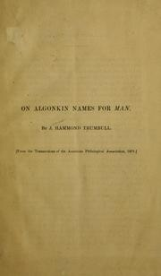 Cover of: On Algonkin names for man