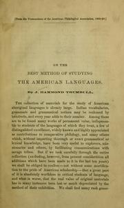 Cover of: On the best method of studying the American languages