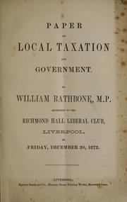 Cover of: Paper on local taxation and government