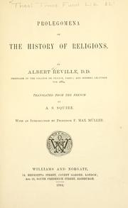 Cover of: Prolegomena of the history of religions