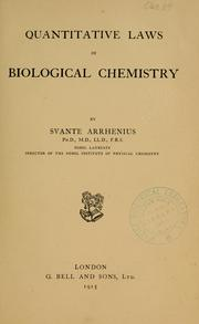 Cover of: Quantitative laws in biological chemistry