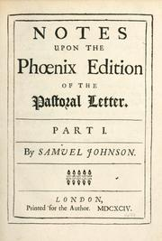 Cover of: Notes upon the Phoenix edition of The pastoral letter.  Part I