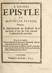 Cover of: A Serious epistle to Mr. William Prynne