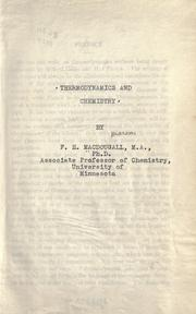 Cover of: Thermodynamics: An introductory treatise dealing mainley with first principles and their direct applications