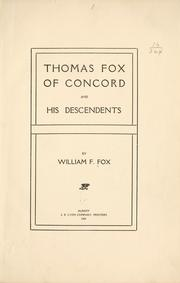 Cover of: Thomas Fox of Concord and his descendents [!]