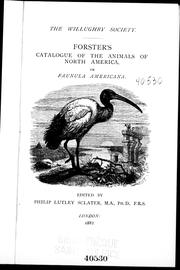 Cover of: Forster's catalogue of the animals of North America, or, Faunula americana