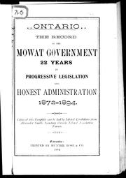 Cover of: The Record of the Mowat government