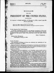 Cover of: Message from the president of the United States transmitting in response to Senate resolution of February 11, 1889, a report upon the case of Louis Riel