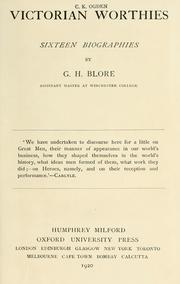 Cover of: Victorian worthies; sixteen biographies