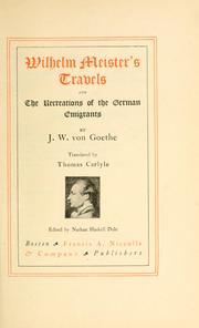 Cover of: Wilhelm Meister's travels