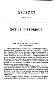 Cover of: Bajazet: tragédie