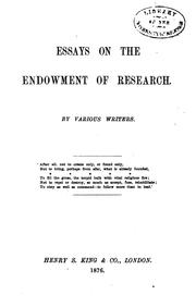 Cover of: Essays on the endowment of research