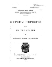 Cover of: Gypsum deposits in the United States
