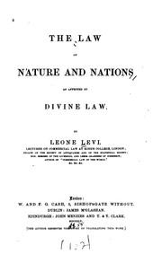 Cover of: The law of nature and nations as affected by divine law