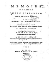 Cover of: Memoirs of the reign of Queen Elizabeth, from the year 1581 till her death
