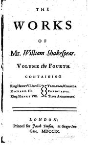 Cover of: The works of Mr. William Shakespear