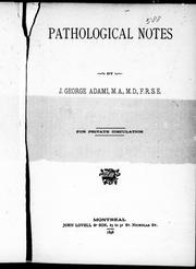 Cover of: Pathological notes