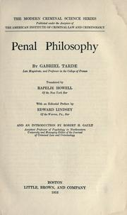 Cover of: Philosophie pénale: Translated by Rapelje Howell, with an editorial pref. by Edward Lindsey and an introd. by Robert H. Gault.