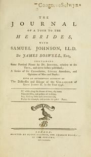 Cover of: The journal of a tour to the Hebrides: with Samuel Johnson, LL.D. By James Boswell, ...