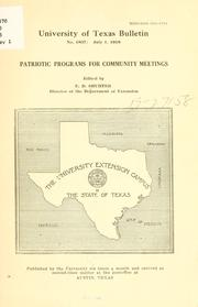 Cover of: Patriotic programs for community meetings