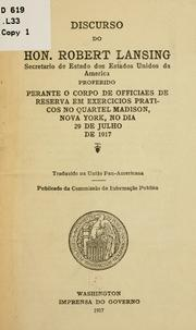 Cover of: Discurso do Hon. Robert Lansing