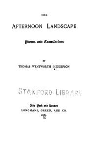 Cover of: The Afternoon Landscape: Poems and Translations