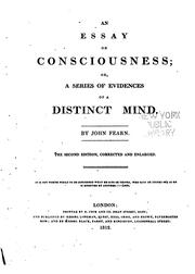 Cover of: An Essay on Consciousness: Or, A Series of Evidences of a Distinct Mind