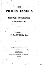 Cover of: De Philis insula eiusque monumentis commentatio