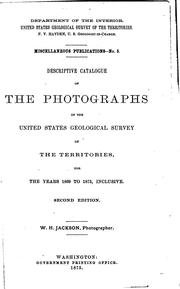 Cover of: Descriptive Catalogue of the Photographs of the United States Geological ..
