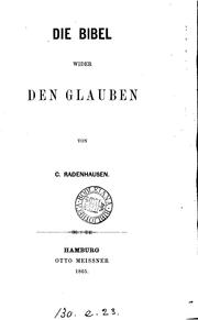 Cover of: Die Bibel wider den Glauben
