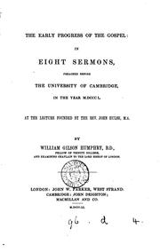 Cover of: The early progress of the gospel: in 8 sermons