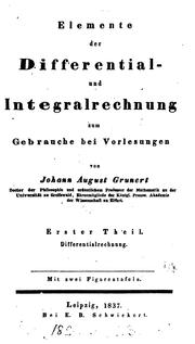 Cover of: Elemente der Differential- und Integralrechnung, 2 Theile