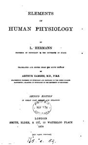 Cover of: Elements of human physiology, tr. from the 5th ed. by A. Gamgee