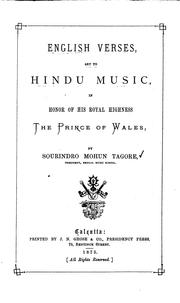 Cover of: English Verses Set to Hindu Music, in Honor of His Royal Highness the Prince ..