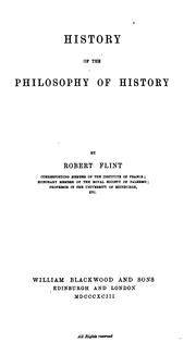 Cover of: History of the philosophy of history