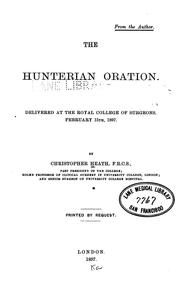 Cover of: The Hunterian oration
