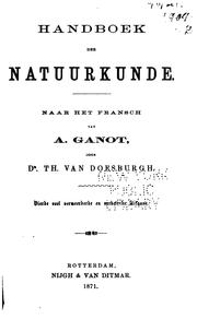 Cover of: Handbook der natuurkunde