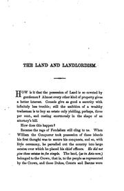 Cover of: The land and landlordism
