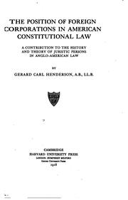 Cover of: The Position of Foreign Corporations in American Constitutional Law: A ..